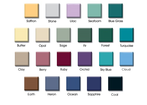 Color Chart for H-Brace Exam Table