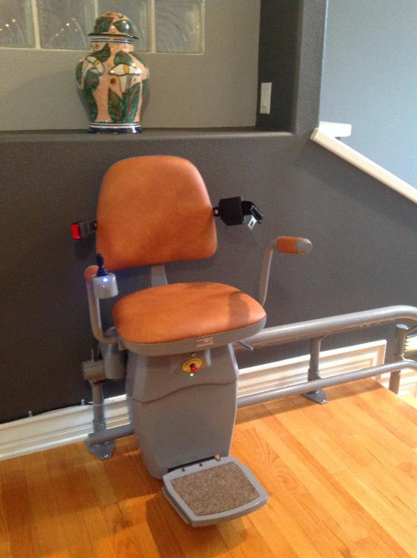 curved stair lift resting