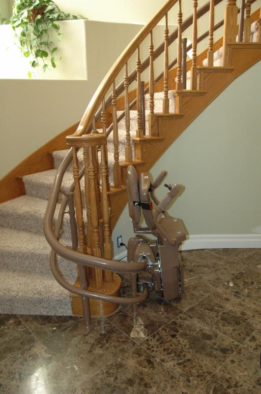 curved stair lift at very bottom with wrap