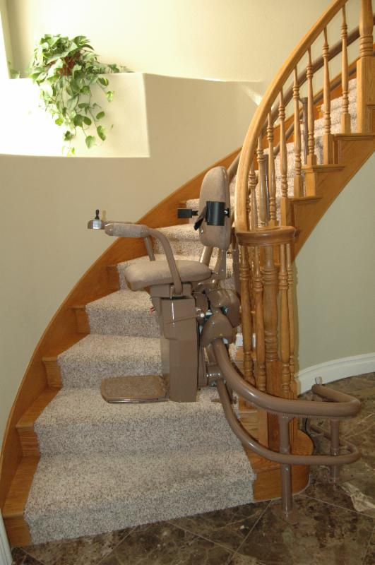 curved stair lift beginning the journey