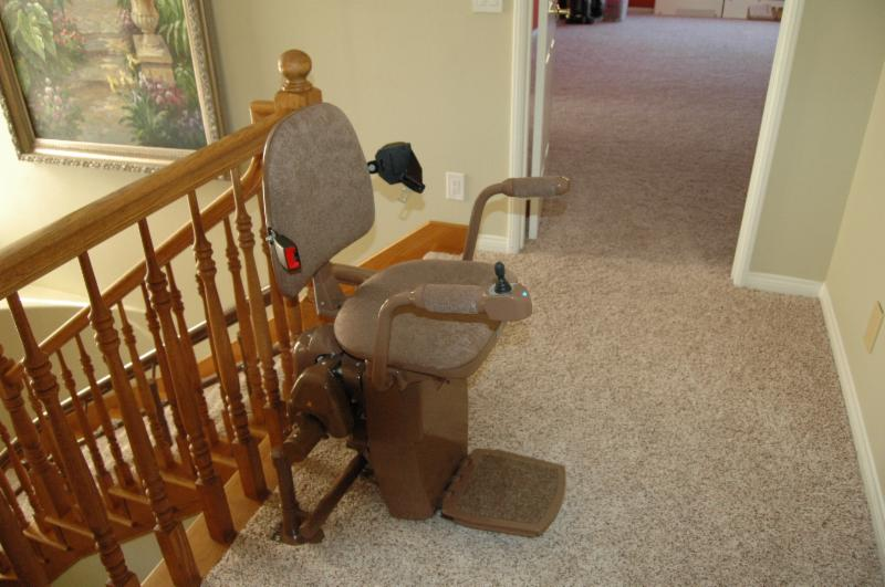 curved stair lift at parking station