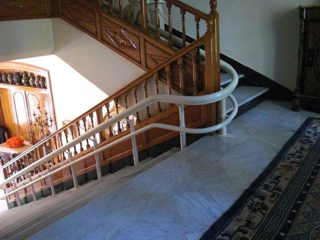 curved stair lift rack