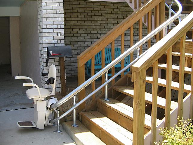 curved stair lift wrap at bottom