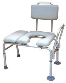 Padded Bath Transfer Bench with Commode Cut Out