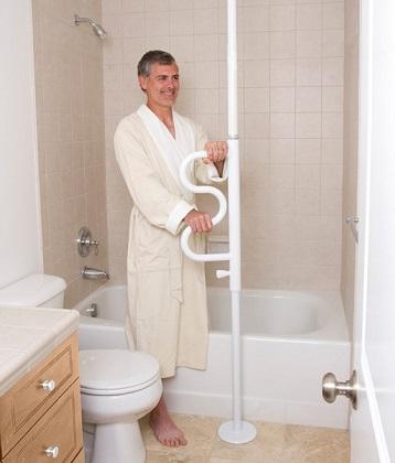 Shower pole grab bar